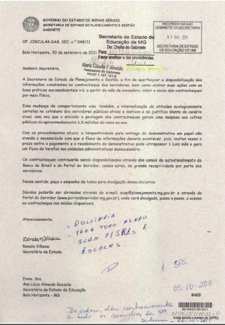 Ofício SEPLAG comunicando fim do envio de contracheques impressos